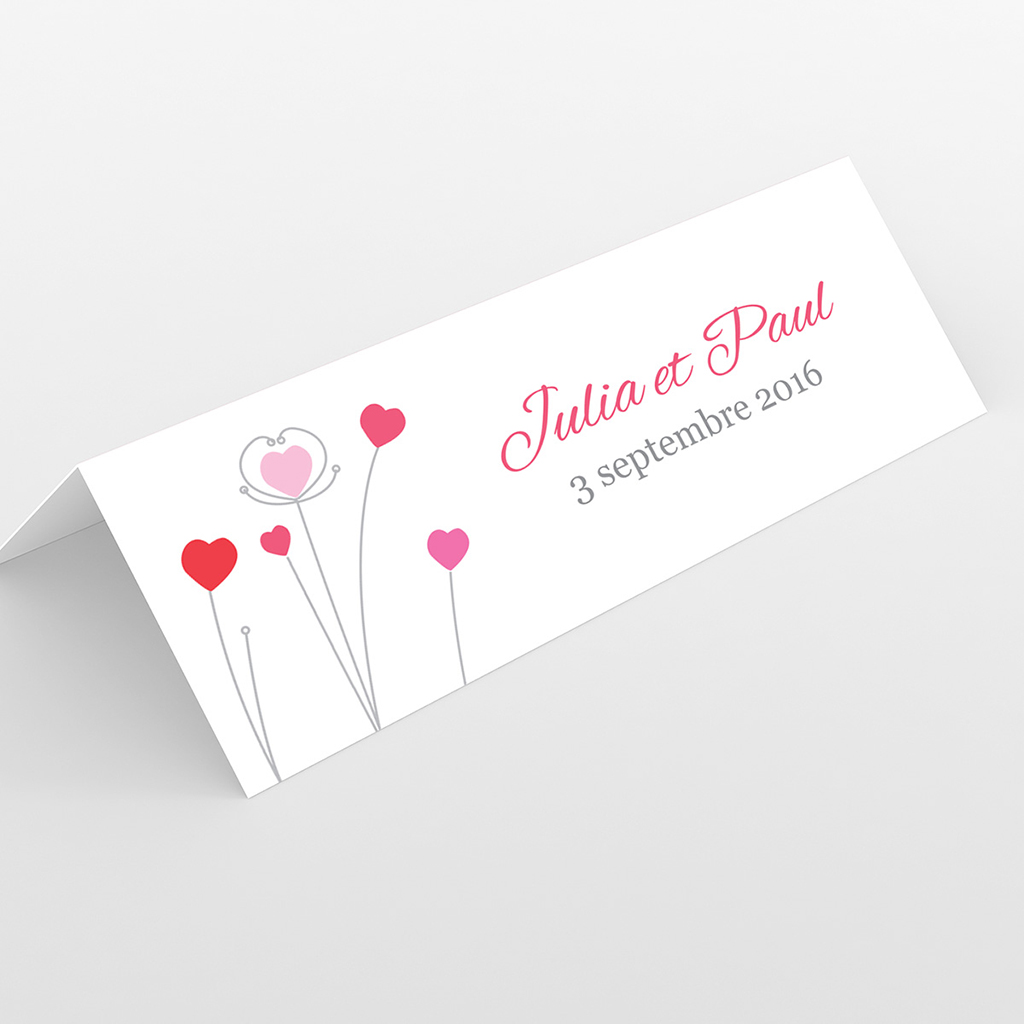 Marque-place mariage Idylle rose