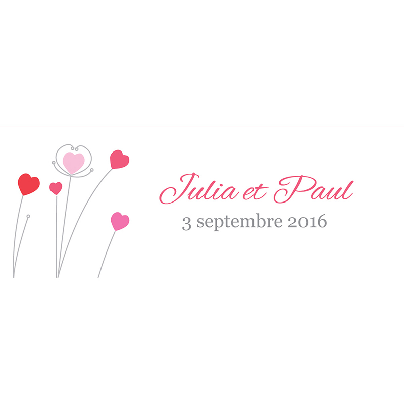 Marque-place mariage Idylle rose pas cher