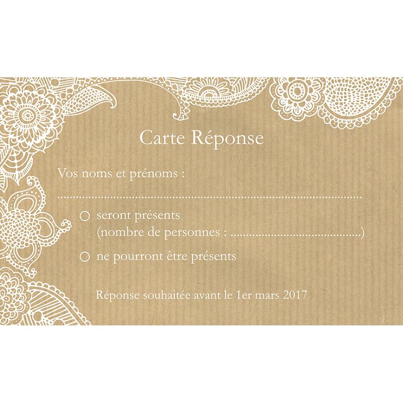 Carton réponse mariage Romantique  pas cher