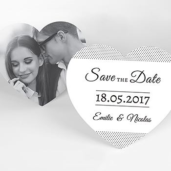 Save-the-date mariage Letter Press blanc