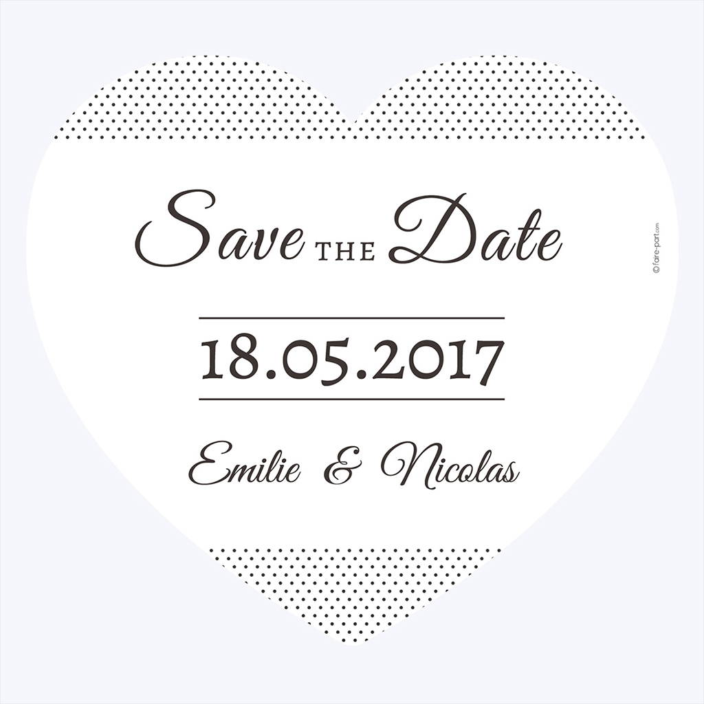 Save-the-date mariage Letter Press blanc pas cher