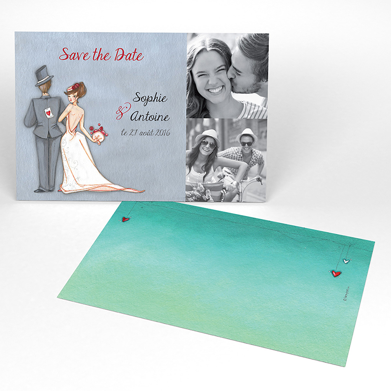 Save-the-date mariage Tendre espièglerie gris vert