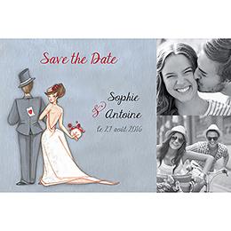Save-the-date mariage Tendre espièglerie gris vert pas cher