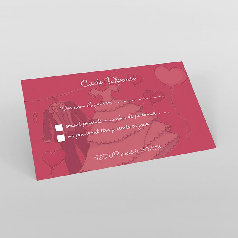 Carton réponse mariage Union rouge