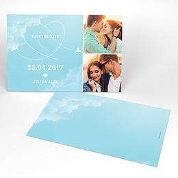 Save-the-date mariage Bleu ciel