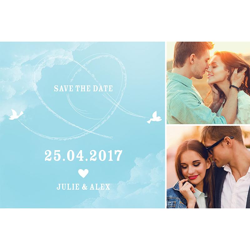 Save-the-date mariage Bleu ciel  pas cher
