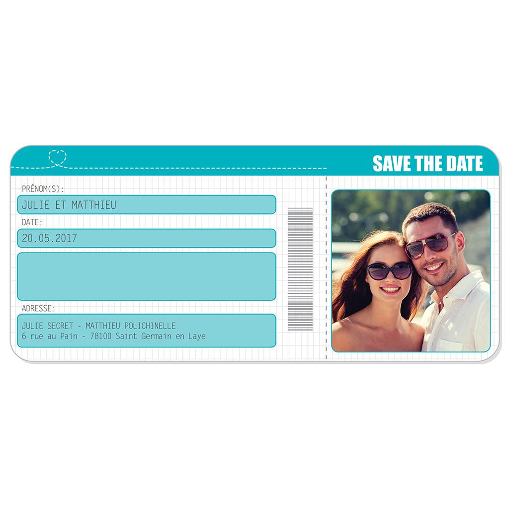 Save-the-date mariage Voyage bleu gratuit