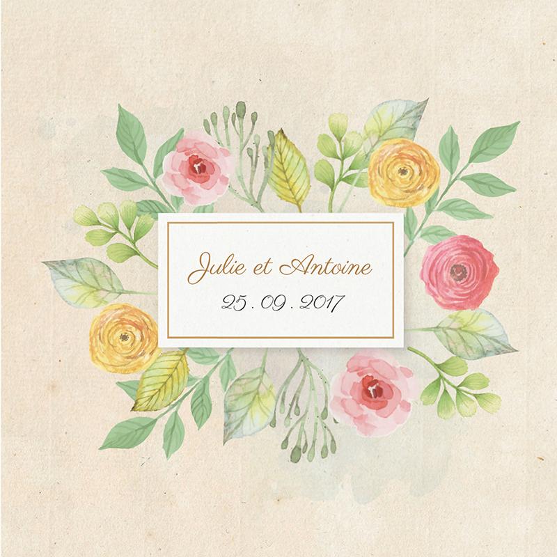 Faire-part de mariage Fleurs Vintage pas cher