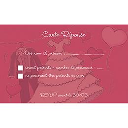 Carton réponse mariage Union rouge pas cher