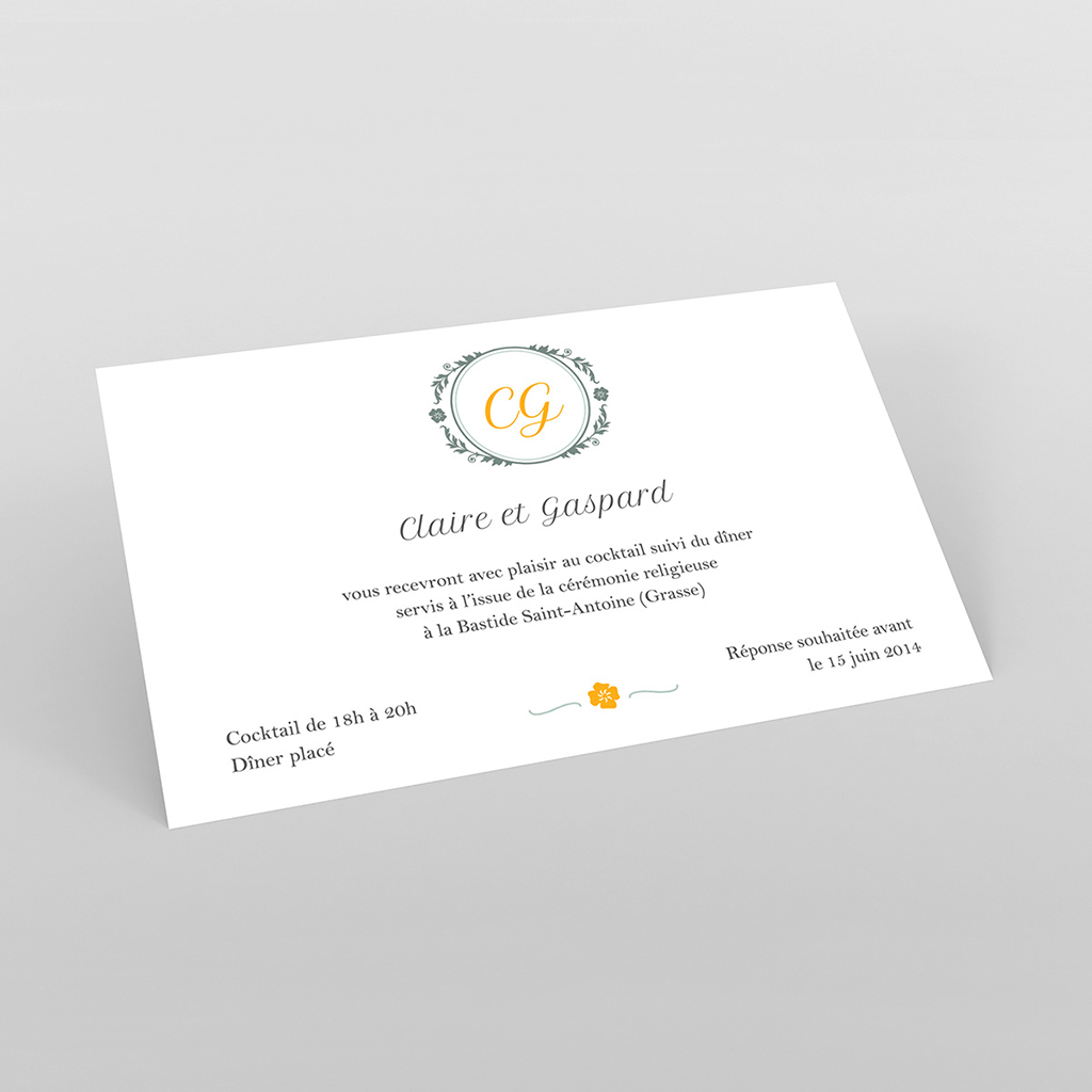 Carte d'invitation mariage Yellow Liberty