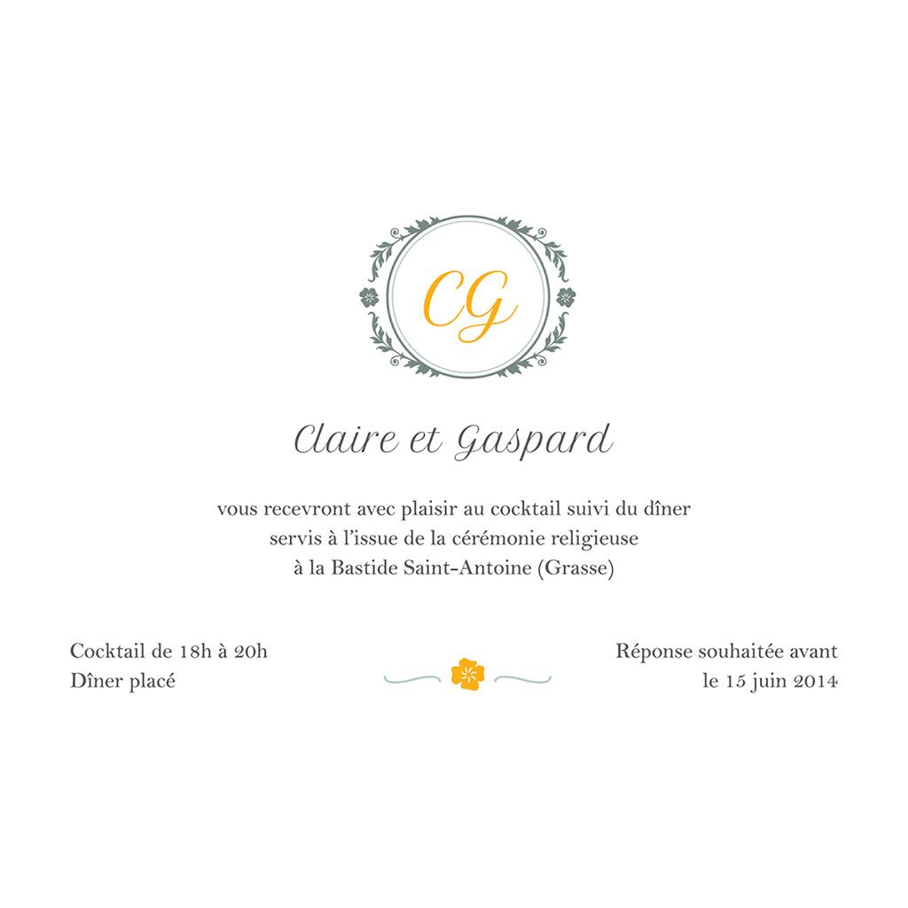 Carte d'invitation mariage Yellow Liberty pas cher