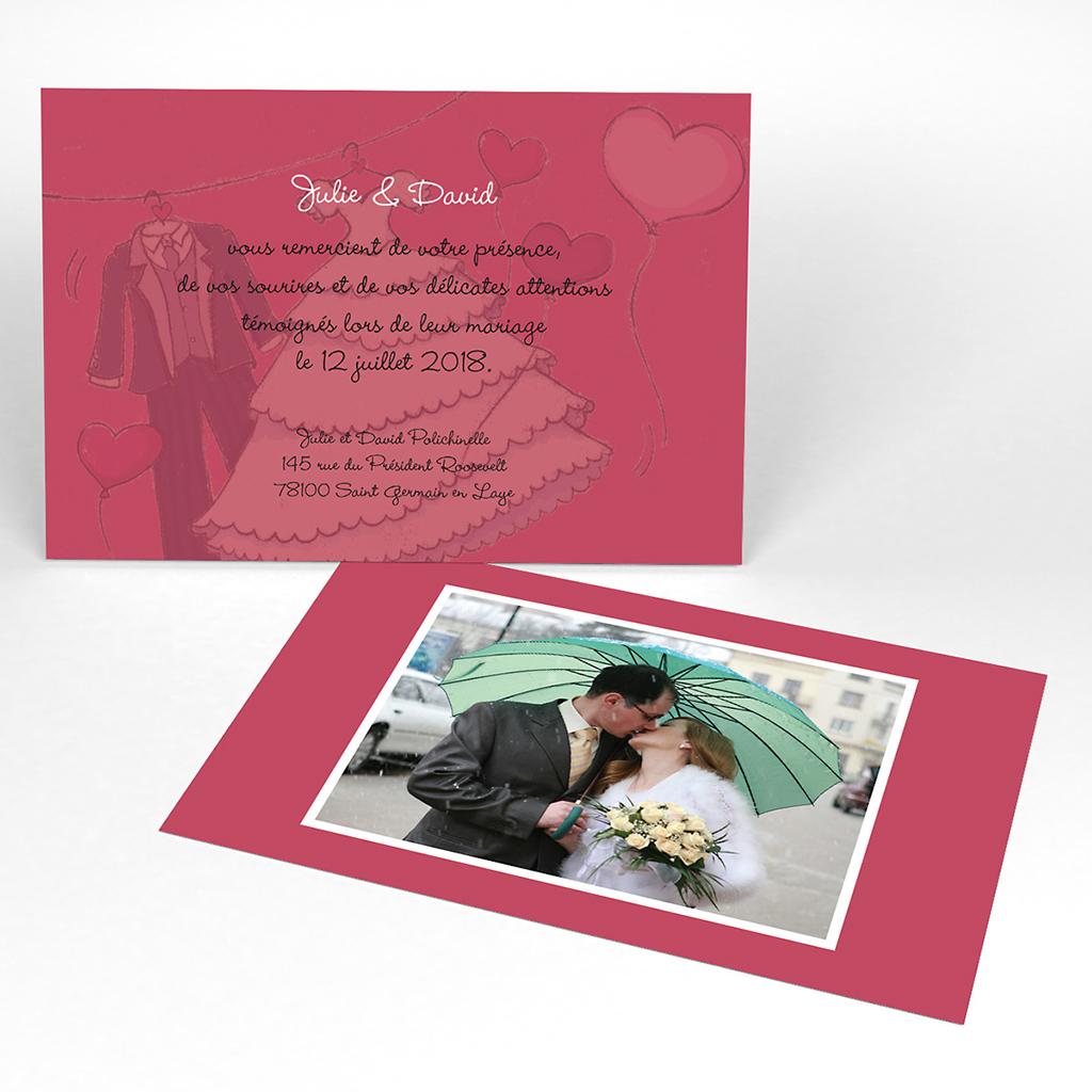 Carte de remerciement mariage Union rouge