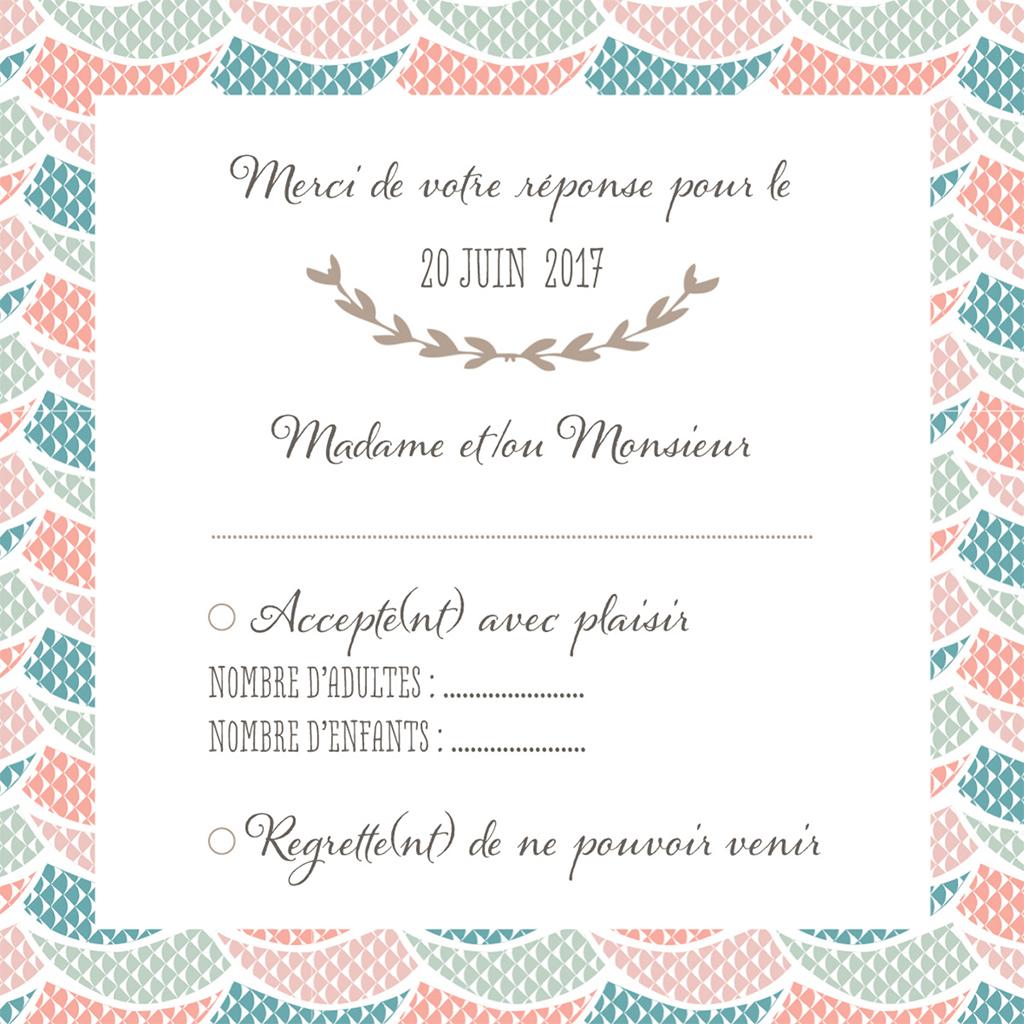 Carton réponse mariage Trendy pas cher