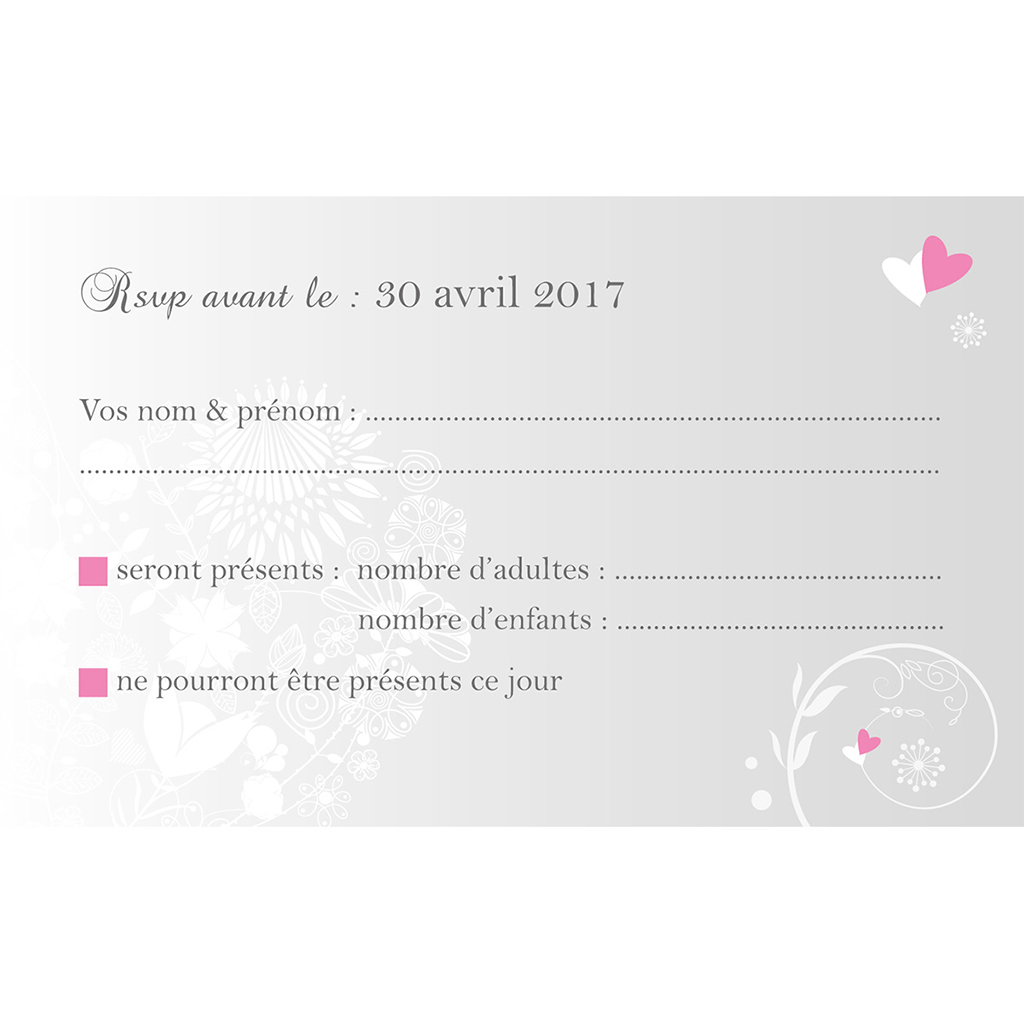 Carton réponse mariage Youpi gris panoramique pas cher