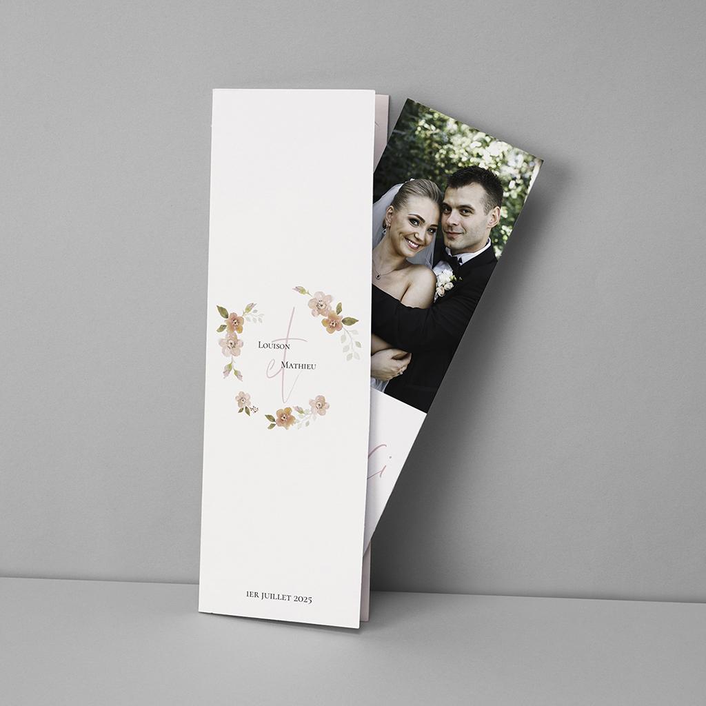 Carte de remerciement mariage Couronne Romantique Rose