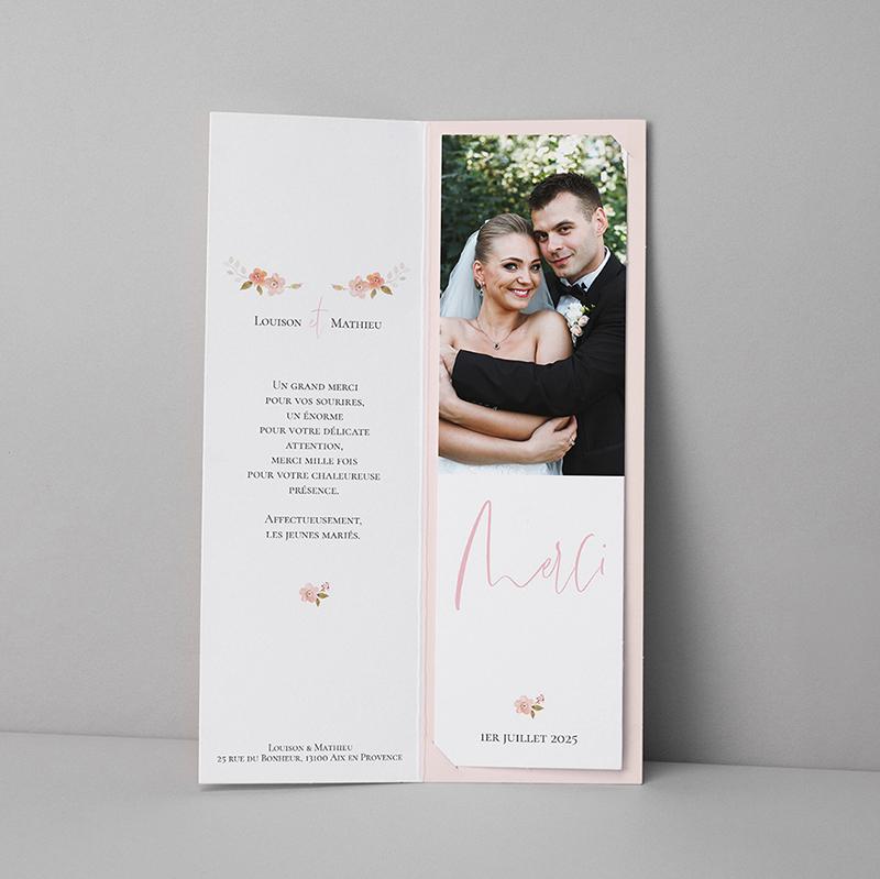 Carte de remerciement mariage Couronne Romantique Rose pas cher