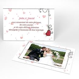 Carte de remerciement mariage Les Coeurs