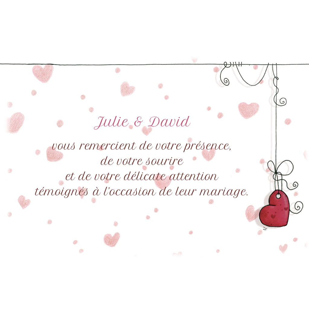 Carte de remerciement mariage Les Coeurs  pas cher