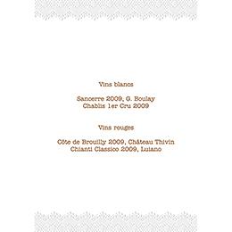 Menu mariage Dentelle Vintage gratuit