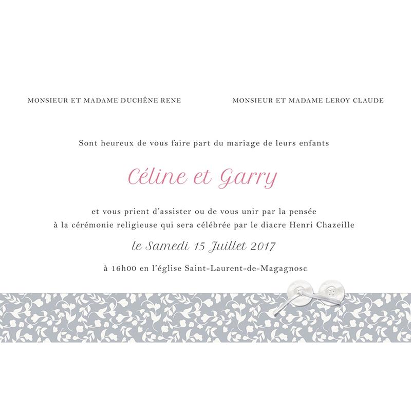 Faire-part de mariage Grey