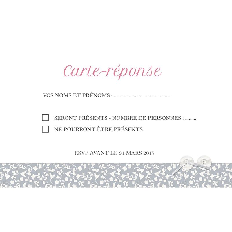 Carton réponse mariage Grey pas cher
