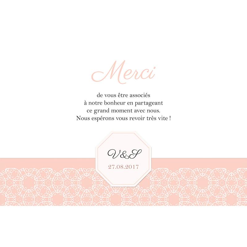 Carte de remerciement mariage Elégance poudrée pas cher