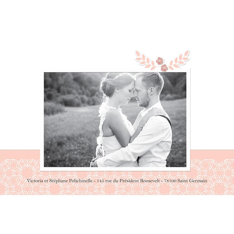 Carte de remerciement mariage Elégance poudrée gratuit