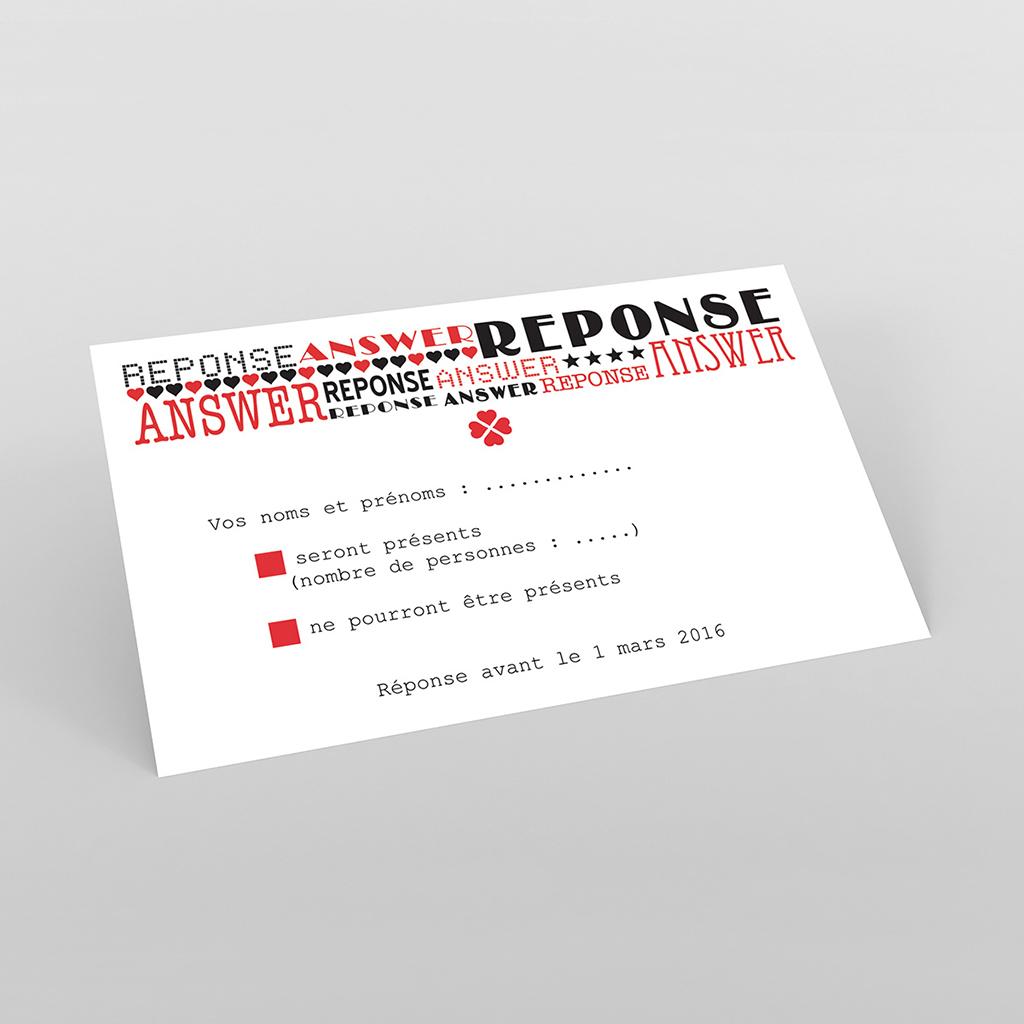 Carton réponse mariage New york rouge