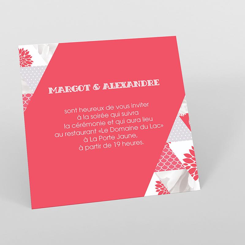 Carte d'invitation mariage Origami gris rose