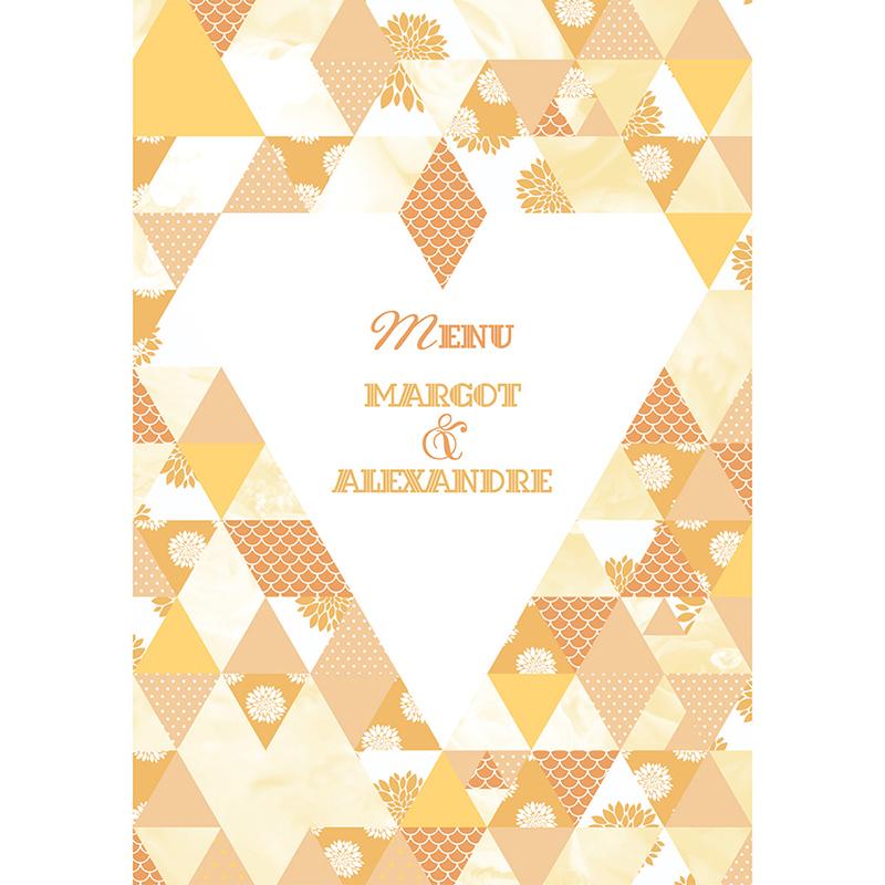 Menu mariage Origami jaune pas cher