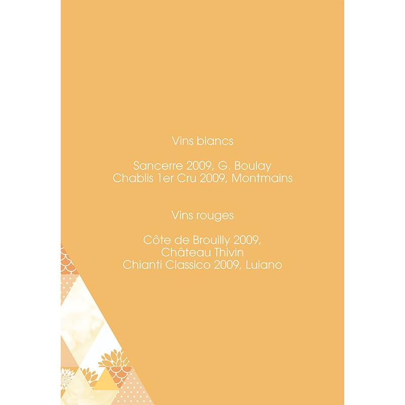Menu mariage Origami jaune gratuit