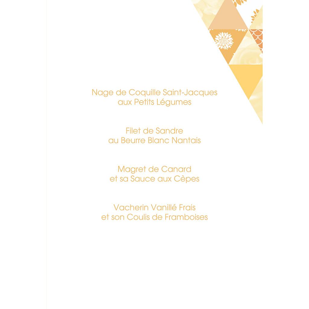 Menu mariage Origami jaune