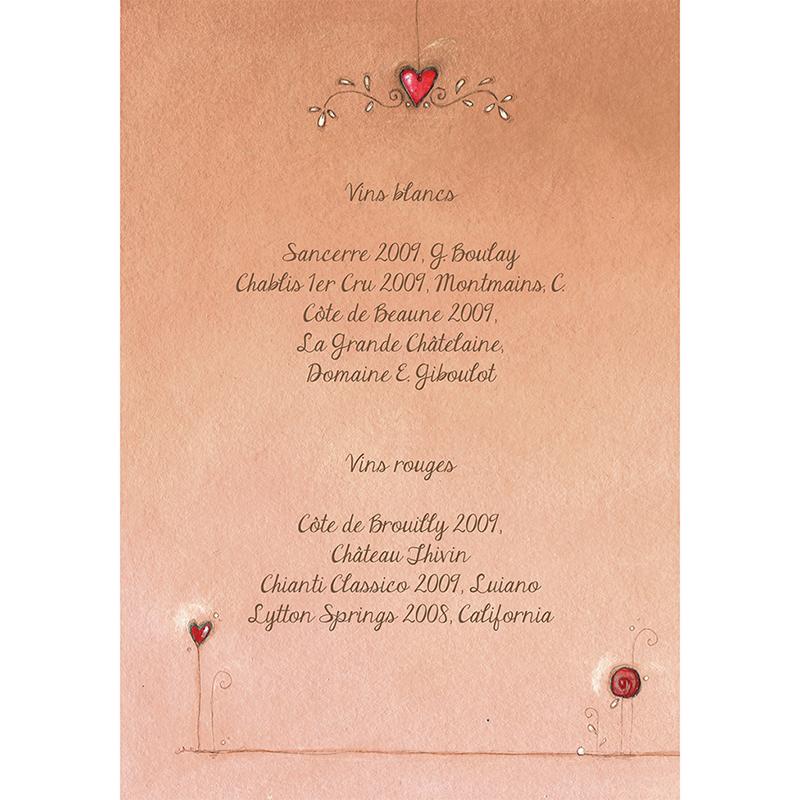Menu mariage Tendre espièglerie beige rose gratuit