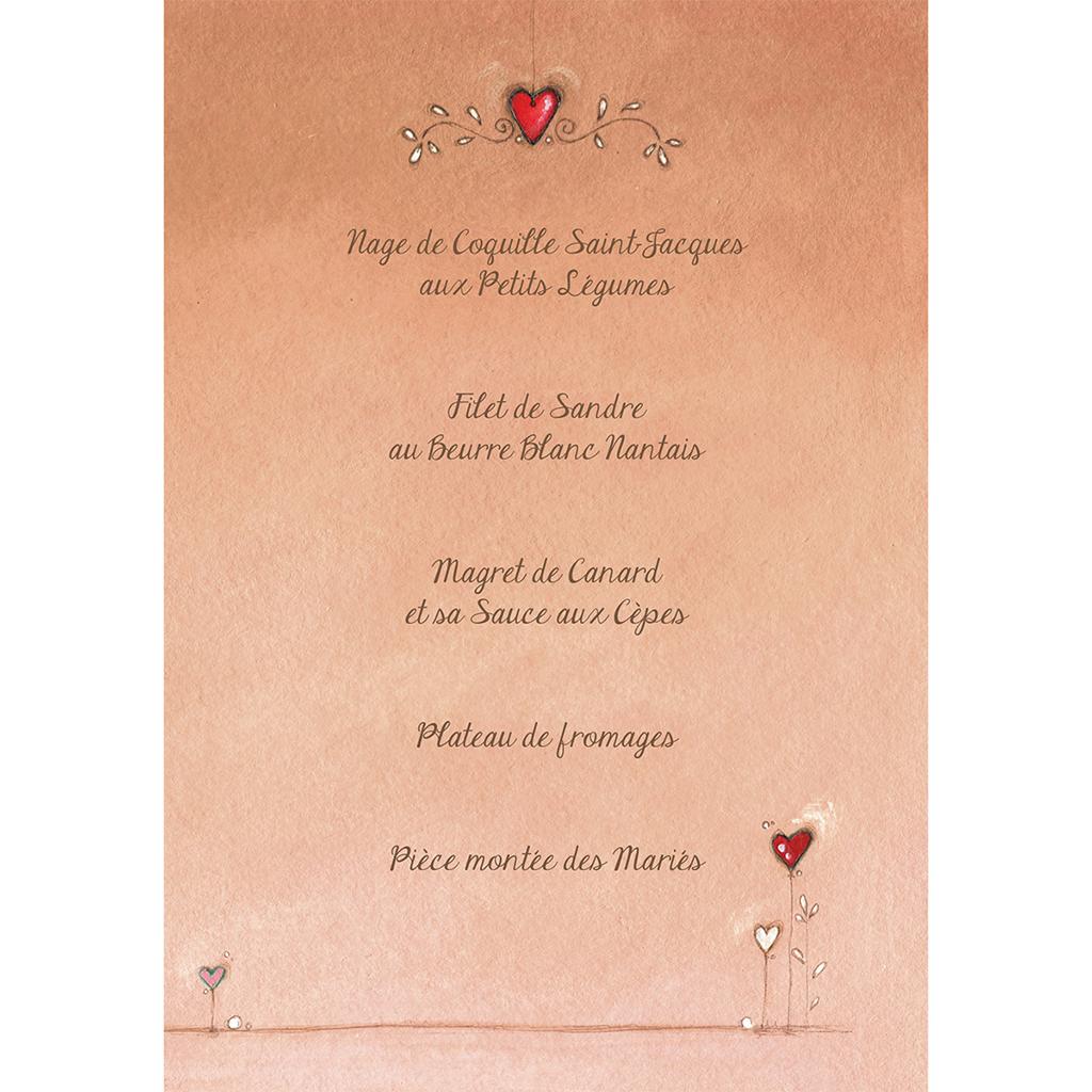 Menu mariage Tendre espièglerie beige rose