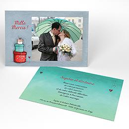 Carte de remerciement mariage Tendre espièglerie gris vert