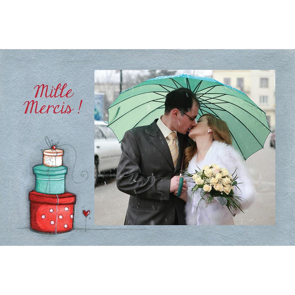 Carte de remerciement mariage Tendre espièglerie gris vert pas cher