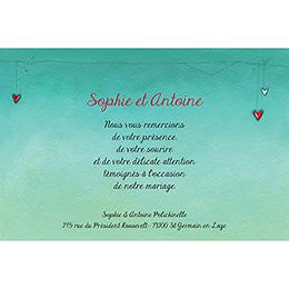 Carte de remerciement mariage Tendre espièglerie gris vert gratuit