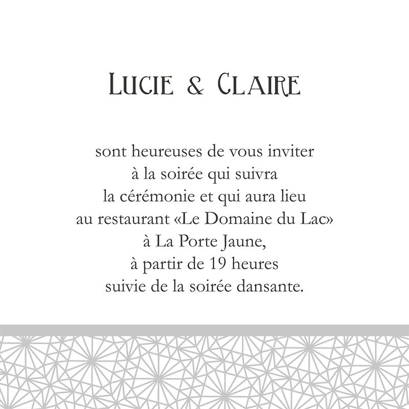 Carte d'invitation mariage Wedding 2 melles pas cher