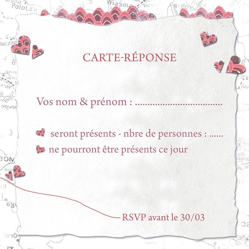 Carton réponse mariage Voyage d'amour  pas cher