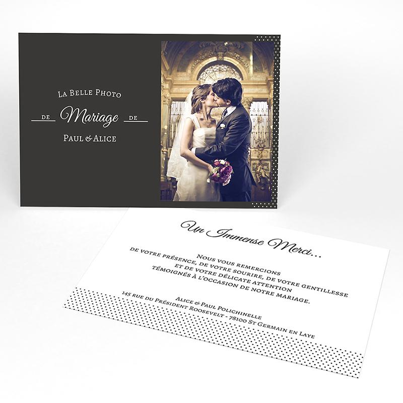 Carte de remerciement mariage Letter Press blanc