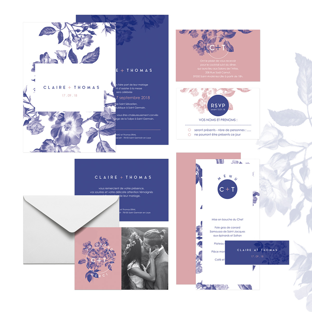 Carte de remerciement mariage Botanic