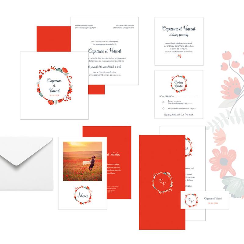 Marque-place mariage Poppy gratuit
