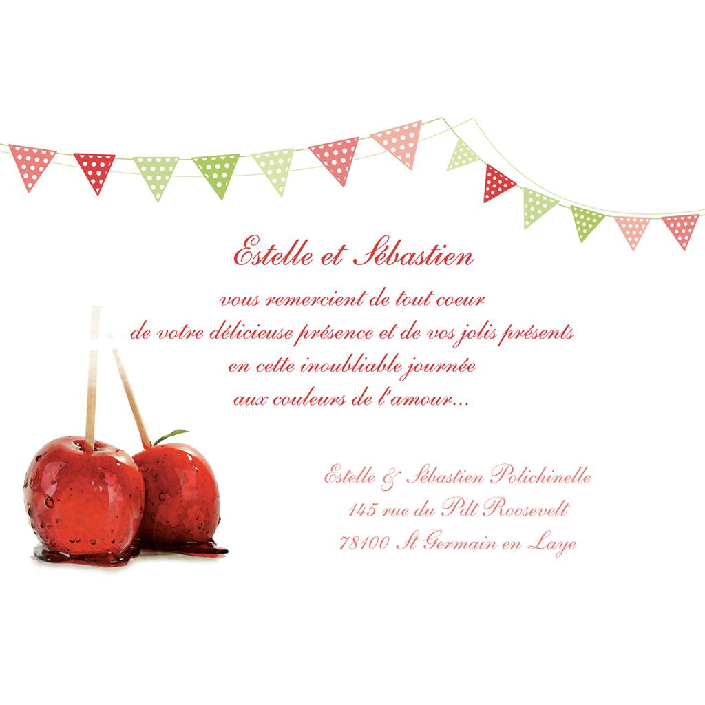 Carte de remerciement mariage Gourmandise  gratuit