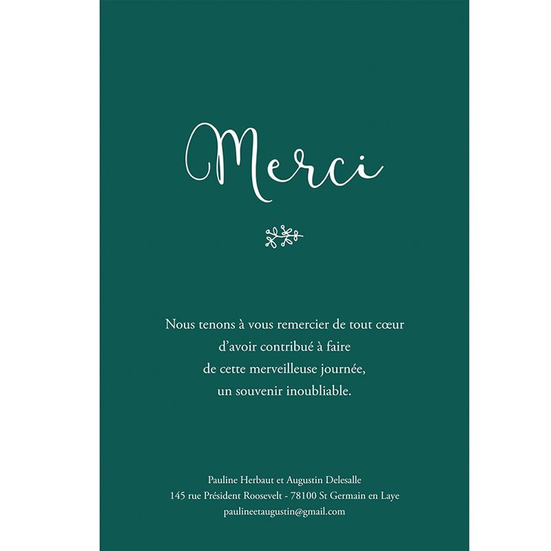 Carte de remerciement mariage Darjeeling gratuit
