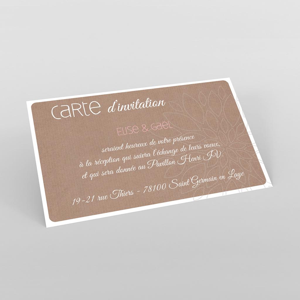 Carte d'invitation mariage Bois de Rose
