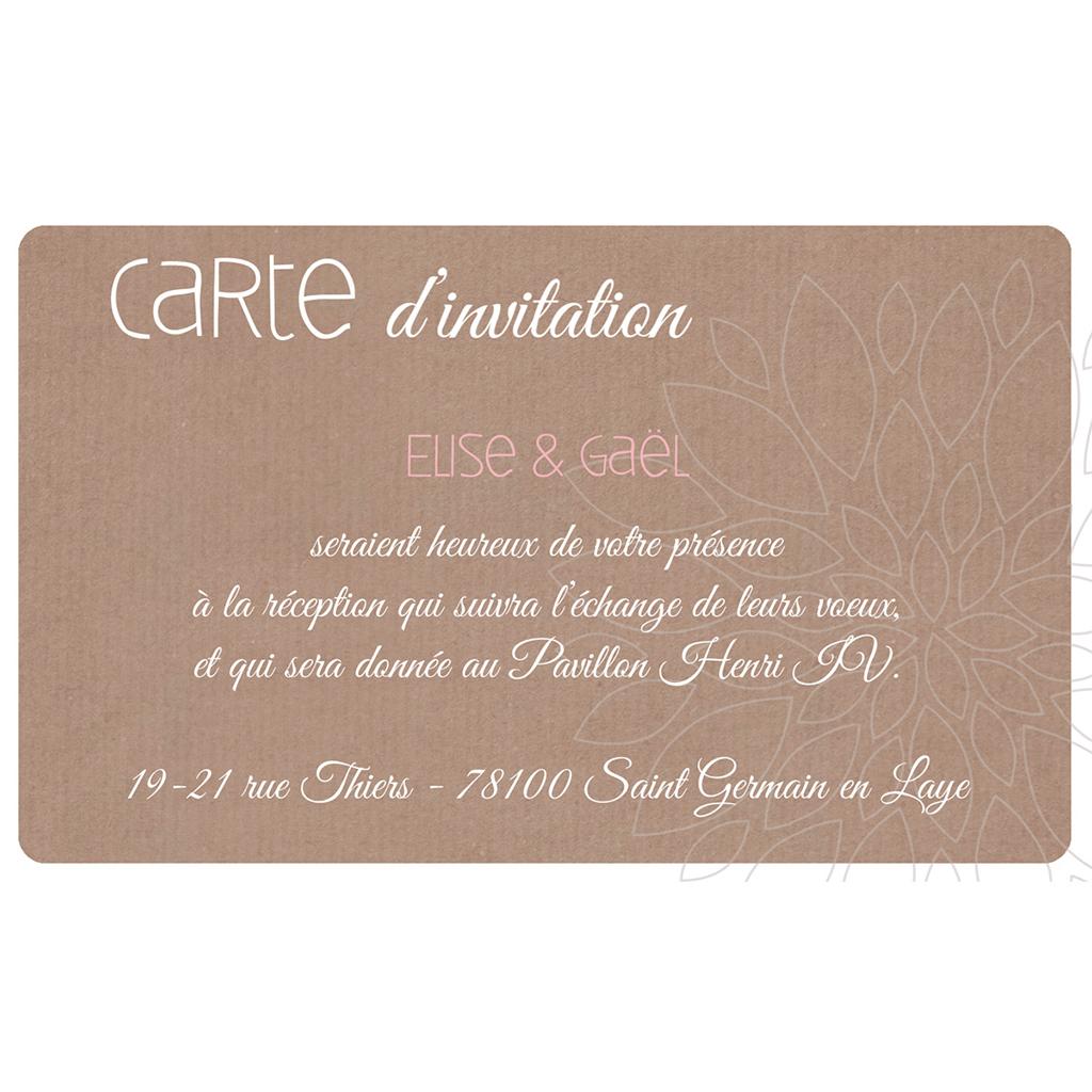 Carte d'invitation mariage Bois de Rose  pas cher