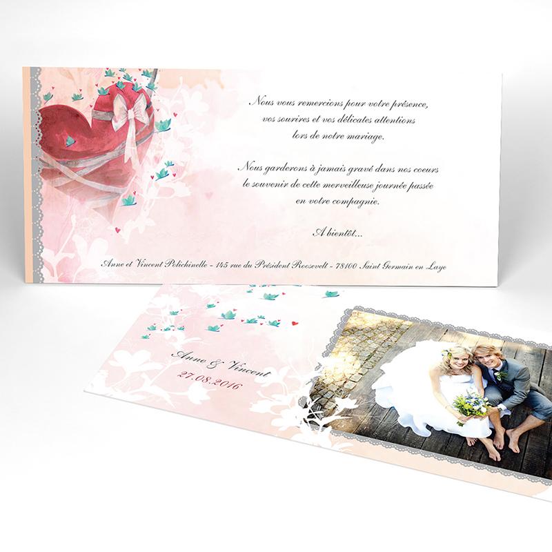Carte de remerciement mariage Sensibilis