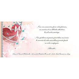 Carte de remerciement mariage Sensibilis  pas cher