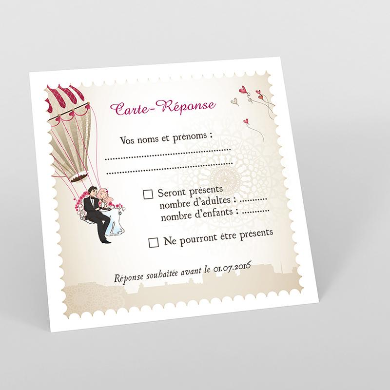Carton réponse mariage Montgolfière