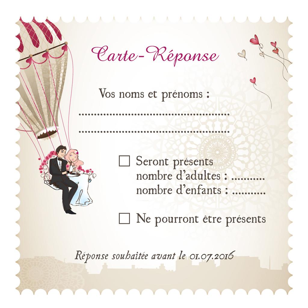 Carton réponse mariage Montgolfière  pas cher